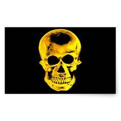 Golden Skull Rectangular Stickers #Skull #Halloween #Sticker