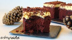 Chocolate cake squares with pastry cream frosting - simonacallas Merida, Cake Decorating Piping, Cream Frosting, Chocolate Cake, Deserts, Cooking Recipes, Tasty, Sweet, Knits