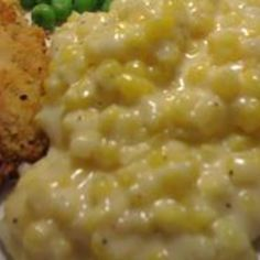 """Cream Corn Like No Other.""""This is NOTHING like canned creamed corn! Easy and quick to prepare and is an especially delicious side dish for chicken or pork. Everyone always asks for the recipe. Corn Recipes, Side Dish Recipes, Vegetable Recipes, Great Recipes, Favorite Recipes, Veggie Food, Lima Bean Recipes, Chicken Recipes, Sauces"""