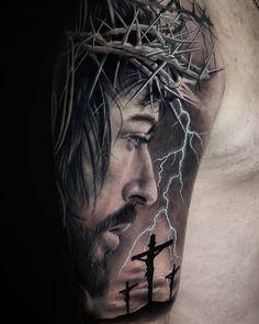 Jesus Tattoo Sleeve, Religious Tattoo Sleeves, Lion Tattoo Sleeves, Full Sleeve Tattoos, Tattoo Sleeve Designs, Tattoo Designs Men, Jesus Tatoo, Family Tattoos, Life Tattoos