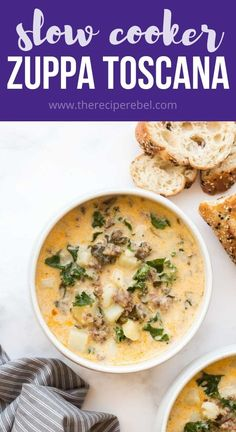 This easy Zuppa Toscana is a creamy soup full of Italian sausage, kale, potatoes and Parmesan. It's hearty, creamy, and perfect for fall! #soup #slowcooker #crockpot #dinner Crockpot Dishes, Crock Pot Soup, Crock Pot Slow Cooker, Slow Cooker Recipes, Crockpot Recipes, Soup Recipes, Cooking Recipes, Dinner Crockpot, Recipes