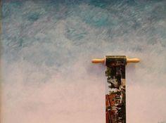 Mooi kunstwerk van Hans Wijnstok, realiteit achter de wolken. Met deegroller dus er is een keukenlink.