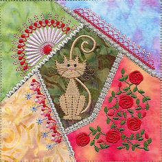 Love this kitty crazy quilt block.
