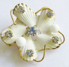 Austria Crystal White Brooch Vintage Shell Design Pin by UnderTheBaobobTree on Etsy