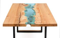 Wood Tables Embedded with Glass Rivers by Greg Klassen06