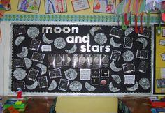 Moon and stars classroom display photo - Photo gallery - SparkleBox Stars Classroom, Music Classroom, Science Classroom, Classroom Themes, Primary Teaching, Teaching Science, Teaching Ideas, Space Theme Decorations, Nursery Display Boards