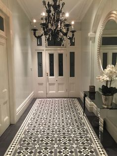 Since Renditions Tiles have supplied Australia wide, factory sealed porcelain tessellated tiles, mosaic tiles and wall tiles. Victorian Hallway Tiles, Tiled Hallway, Modern Hallway, Edwardian Hallway, Victorian Flooring, Porch Tile, Patio Tiles, Entrance Hall Decor, House Entrance
