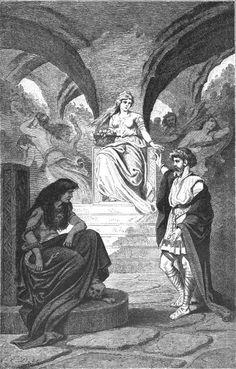 Illustrations by Carl Emil Doepler 'The Elder' from Nordisch-Germanische Götter und Helden: Hrafnagaldur Odins - Heimdall demands the release of Idunna from Hel, 1882