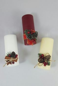Новогодние свечи Christmas Gift Box, Christmas Mood, Christmas Candles, Christmas Gift Wrapping, Vintage Christmas, Christmas Wreaths, Homemade Christmas Decorations, Xmas Decorations, Candle Centerpieces