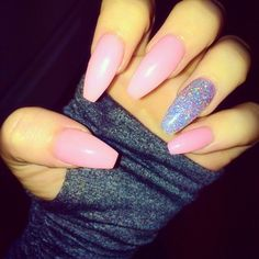 pink nails with accent nail