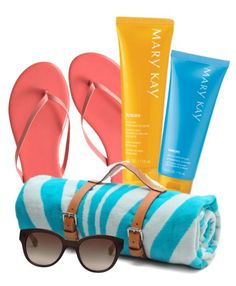 Create a fun summer-themed gift basket for your mom with a cute beach towel, sunglasses, flip flops, and your favorite Mary Kay sun care products!