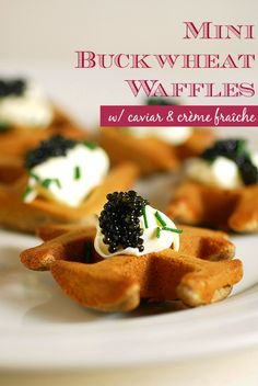 Easy Appetizer Idea: Mini Buckwheat Waffles with Caviar & Creme Fraiche #NewYears #cocktailparty #recipe