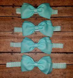 Mint Chevron Hair Bow Headband by SouthernBelleCre2014 on Etsy