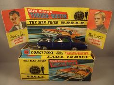Man from U.N.C.L.E Corgi car.  When you pushed the button on the top, the driver leaned out to shoot the bad guys.