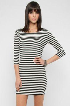 Stripe Long Sleeve Dress in Black and White $38 at www.tobi.com