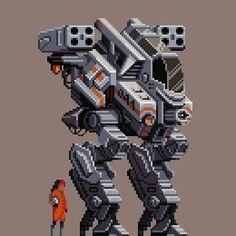 Very Cool Pixel Art It's cool so it got pinned to this board :) How To Pixel Art, Cool Pixel Art, Game Character Design, Game Design, Robot Design, Sprites, Piskel Art, Retro, Pixel Characters