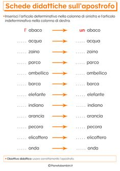 Schede Didattiche sull'Apostrofo per la Scuola Primaria | PianetaBambini.it Italian Vocabulary, Learning Time, Italian Language, Learning Italian, Things To Know, Second Grade, Problem Solving, Homeschool, Coding