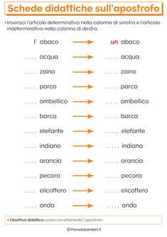 Schede Didattiche sull'Apostrofo per la Scuola Primaria | PianetaBambini.it Italian Vocabulary, Learning Time, Italian Language, Learning Italian, Things To Know, Problem Solving, Homeschool, Coding, Teaching
