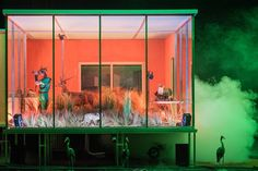 I like the harsh contrast between the warm inside to the cool misty outside- Nichole (Swamp Club - Philippe Quesne / Vivarium Studio. Stage Lighting Design, Stage Set Design, Set Design Theatre, Vivarium, Conception Scénique, Bühnen Design, Scenography Theatre, Design Research, Scenic Design