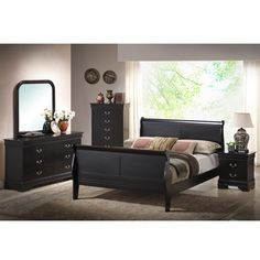 This Harrell Black Queen Size Modern Bedroom Set includes includes a queen sized modern sleigh bed, dresser with attachable mirror, and two night stands. It has solid rubberwood, satin finish silvertone metal drawer pulls Sleigh Bedroom Set, King Bedroom Sets, Queen Bedroom, Master Bedrooms, Master Suite, Parks Furniture, Bed Furniture, Living Room Furniture, Apartment Furniture