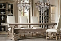 Restoration+Hardware+17th+C.+Hourglass+Trestle+Dining+Table