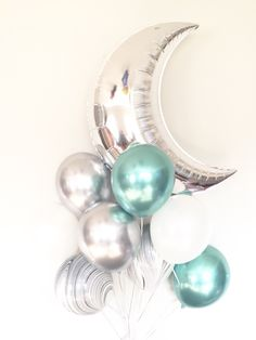 Moon Balloons Galaxy Birthday Balloons Out of this World White Balloons, Helium Balloons, Baby Shower Balloons, Birthday Balloons, Shower Baby, Galaxy Balloons, Moon Balloon, Balloon Clouds, Balloon Arch
