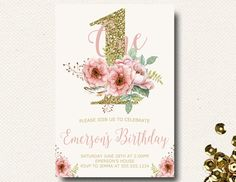 Girls First Birthday Invitation Pink and Gold Floral Birthday Watercolor Invitation Natural by DesignOnPaper on Etsy https://www.etsy.com/au/listing/254815737/girls-first-birthday-invitation-pink-and