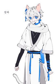 고양이 요괴 자캐 청와 Anime Character Drawing, Character Art, Character Design, Cute Characters, Fantasy Characters, Anime Characters, Emo Art, Drawing Reference Poses, Cute Anime Guys