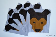 Bear Quilt BLOCK Pattern PDF Instant Download modern