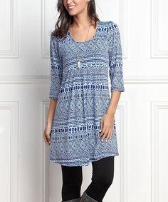 Look at this #zulilyfind! Blue Geometric Empire-Waist Tunic Dress - Plus Too by R&B #zulilyfinds