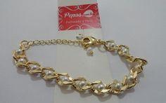 """Pulseira folheada a ouro - corrente com perolas de cristal """"g"""""""