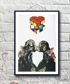 Love Monkey - Drawing Art Backers on YOOX. The best online selection of Art Backers. YOOX exclusive items of Italian and international designers - Secure payments Monkey Drawing, Print Release, Affordable Art, Limited Edition Prints, Love Art, In This World, Art Drawings, Batman, Kiss