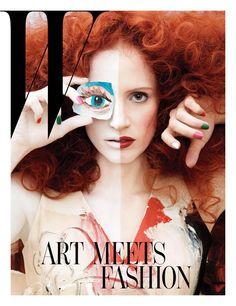 Jessica Chastain | Max Vadukul #photography | W Magazine January 2013 | #collage