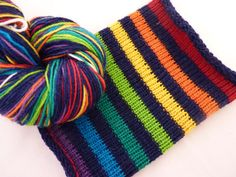Navy Rainbow hand dyed self striping sock yarn by FabFunkyFibres, £18.00