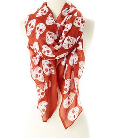 Love this Rust & White Skull Scarf by Raj Imports on #zulily! #zulilyfinds