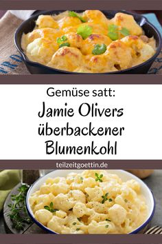 Jamie Olivers überbackener Blumenkohl – Gemüse satt Jamie Oliver's cauliflower gratin serves two purposes: a huge portion of vegetables on the plate and it can be conjured up excellently from the stock. Cauliflower Vegetable, Baked Cauliflower, Cauliflower Recipes, Jamie Oliver, Chili Recipes, Vegetarian Recipes, Healthy Recipes, Healthy Meals, Plats Healthy