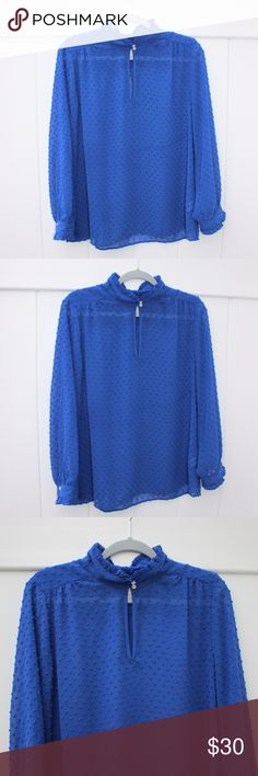 [J. Crew] Royal Blue Sheer Blouse Beautiful and in excellent condition! J. Crew sheer blouse in a size 12. Royal blue color. The front has buttons you can use to wear with a keyhole or you can leave it open for a v-neck look. Such a great J. Crew piece! 100% polyester J. Crew Tops Blouses