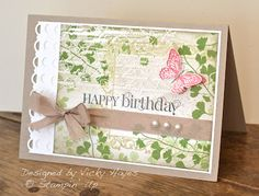 Stampin' Up ideas and supplies from Vicky at Crafting Clare's Paper Moments: Papaya Collage emboss/resist