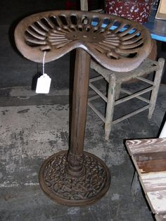 Bar stool from an old tractor seat.