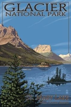 Glacier National Park - St. Mary Lake - Lantern Press Poster