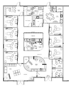 Obviously don't want operatories on opposite sides of the building but I do like the flow of traffic easily from reception to the back and then the distinct check out area. Dental Office Decor, Medical Office Design, Healthcare Design, Dental Offices, Office Layout Plan, Office Floor Plan, Floor Plan Layout, Clinic Interior Design, Clinic Design