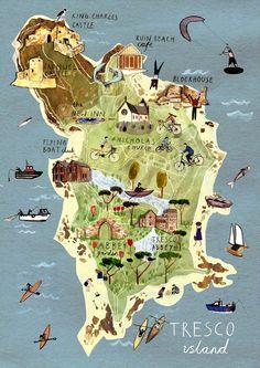 Tresco Island, Isles of Scilly, UK - Livi Gosling Island Travel, Island Map, Travel Maps, Travel Posters, Tresco Abbey Gardens, Pictorial Maps, Travel Illustration, City Maps, Map Design