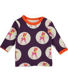 Mala gorgeous purple t-shirt with deer bubble print. mala.en.emilea.be