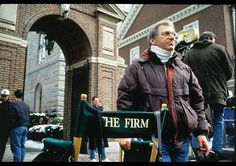 """Syndey Pollack on the set of """"The Firm"""", 1993"""