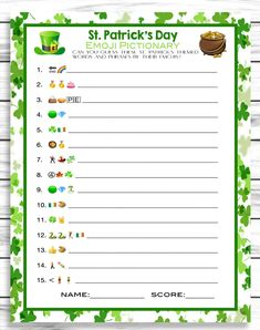 Saint Patricks Day Emoji Pictionary Game,St Patricks Day Party Game, E – Enjoymyprintables St Patricks Day Quotes, St Patricks Day Food, Saint Patricks, St Patricks Day Spiele, Valentine's Day Emoji, St Patrick's Day Words, St Patrick's Day Games, St Patricks Day Wallpaper, Emoji Games