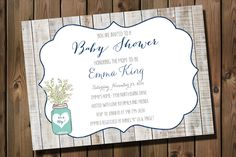 Rustic Baby Boy Shower Invitation Mason Jars and Baby's Breath _1147 by RockStarPress on Etsy https://www.etsy.com/listing/196114869/rustic-baby-boy-shower-invitation-mason