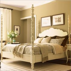 love the four poster bed and neutral tones