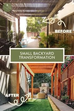 For this townhouse yard, their house had been beautifully remodelled and decorated but they were not real sure what to do with the outdoor space. This was such a fun transformation. My clients are so happy with the end result and I love hearing from them how much they love it. Before and After: Small backyard transformation that you'll love by Secret Garden Landscapes. #backyardtransformation #backyard #backyardlandscapinngdesign #smallbackyard Small Backyard Landscaping, Backyard Patio, Landscaping Design, Backyard Ideas, Garden Landscape Design, Building A Shed, Summer Garden, Townhouse, Pergola