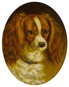 """portrait of a Cavalier King Charles Spaniel"" George Jackson (1830-1864)"