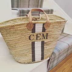 Monogrammed Basket bag in grey/white. Classic. www.pinkwaters.co.uk